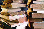 Aged, Book, Books, Close up, Close-up, Closeup, Color, Colour, Concept, Concepts, Detail, Details, Education, Heap, Heaped, Heaps, Indoor, Indoors, Inside, Interior, Learn, Learning, Leisure, Many, Object, Objects, Old, Pile, Piled up, Piles, Reading, St