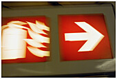 Arrow, Arrows, Close up, Close-up, Closeup, Color, Colour, Concept, Concepts, Direction, Exit, Exits, Fire, Fire exit, Fire exits, Fire extinguisher, Fire extinguishers, Fires, Idea, Ideas, Information, Red, Sign, Signs, Special effects, Symbol, Symbols,