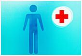 Blue, Close up, Close-up, Closeup, Color, Colour, Concept, Concepts, Figure, Figures, Health, Hospital, Hospitals, Indoor, Indoors, Information, Interior, Medical, Medicine, Red Cross, Sign, Signs, Symbol, Symbols, B75-509092, agefotostock