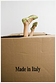 Amusing, Box, Boxes, Child, Children, Color, Colour, Commerce, Contemporary, Feet, Female, Foot, Funny, Girl, Girls, Human, Import, Imports, Indoor, Indoors, Interior, Kids, Made in Italy, Odd, One, One person, Package, Packages, Parcel, Parcels, People,
