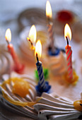 Age, Birthday, Birthdays, Cake, Cakes, Candle, Candles, Close up, Close-up, Closeup, Color, Colour, Concept, Concepts, Detail, Details, Fire, Flame, Flames, Indoor, Indoors, Interior, Lit, Object, Objects, Still life, Symbolic, Thing, Things, Vertical, C