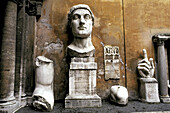 Remains of huge Constantine s statue. Conservatori Museum. Rome. Italy