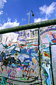 Graffitis on the remains of the Berlin Wall. Oberbaumbrücke bridge quarter. Berlin. Germany