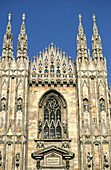Partial view of main facade of the Duomo. Milan. Italy