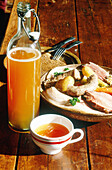 Cup of local cider, potee paysanne and black wheat pancake. Le Char a Banc Hotel and Restaurant. Plelo. Cotes d Armor. Brittany. France
