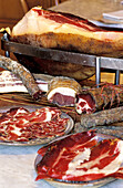 Sausages and cured ham, typical produce. Corsica Island, France