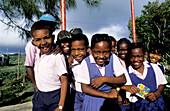 Children going to school. Rodrigues Island. Mauritius
