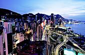 Causeway Bay at dusk. Hong Kong, China
