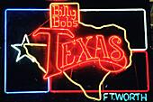 Billy Bob s neon sign. Stockyards, Fort Worth. Texas, USA