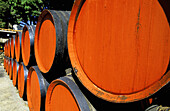 Oak casks stored outside at the sun for Banyuls wine traditional ageing. Cellier des Templiers. Banyuls-sur-mer. Pyrenees-Orientales. Languedoc Roussillon. France