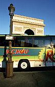 Arc de Triomphe and tourist bus. Paris. France