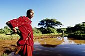 James Ole, Kinyaga senior tour guide and manager. Safari in Laikipia Masai Community Conservancy Park (Il Ngwesi). Kenya