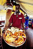 Tusirii Dhow (local sailingboat fitted out to accomodate tourists for a cruise). Lamu Island. Indian Ocean Coast. Kenya