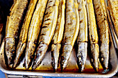 Smoked fishes at Huahsi night market. Taipei. Taiwan