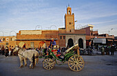 Barouche on the Jemaa El-Fna square, the liveliest place night and day in Marrakech. Morocco.