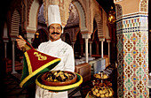 Traditional tajine dish, luxury hotel La Mamounia, built with the best traditional materials. Marrakech. Morocco