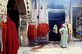 The dyers souks in the medina. Marrakech. Morocco