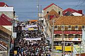 Mardi-Gras parade and preparation. Steel bands parade in Saint George s. Grenada island. Caribbean