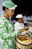 Yearly sunday mass in Sainte-Marie with ladies dressed in traditional attire. Martinique island. French antilles (caribbean)