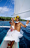 Wedding celebrated on an outrigger. Bora-Bora in the Leeward islands. Society archipelago. French Polynesia (model released)