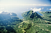 Aerial of the Cook s and Opunohu bays. Close to Tahiti, Moorea island in the Windward islands. Society archipelago. French Polynesia