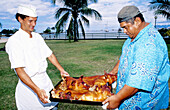 Roasted piglets for the sunday hi-maa (festival lunch cooked in the ground with hot stones). Hotel Maeva in Punaauia. Tahiti island . indward islands. Society archipelago. French Polynesia