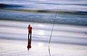 Adult, Adults, Alone, Beach, Beaches, Calm, Calmness, Coast, Color, Colour, Contemporary, Daytime, Europe, Exterior, Fish, Fisherman, Fishermen, Fishing, France, Full-body, Full-length, Hendaye, Hobbies, Hobby, Horizontal, Human, Leisure, Male, Man, Men,