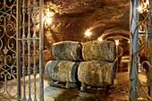 Maturing Rioja wine in oak casks. Bodegas Virgen del Valle, Samaniego, Rioja Alavesa, Euskadi