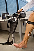 Biomechanics: researchers developing exoskeleton intended for people suffering from muscular weakness in the lower limbs. Fatronik Foundation, Research Technology Center. Donostia, San Sebastian, Gipuzkoa, Euskadi. Spain.