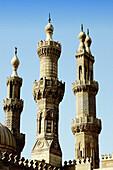Al-Azhar Mosque, the oldest University in the world (972 AD) minarets. Cairo. Egypt