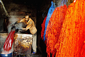 Man working in the dyer s souk. Marrakech. Morocco