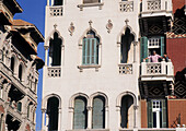 Old 1900 style housing buildings at Corniche area. Alexandria. Egypt