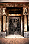 Art deco nouveau arabisant door, on Boulevard Mohamed V at Casablanca. Morocco.