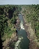 Border of Zambia (left) and Zimbabwe (right). Zambezi river.