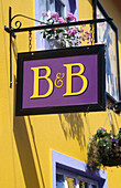 Bed and Breakfast sign. Kinsale. County Cork. Ireland