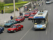 Public transportation, bus or taxi. Beijing, China