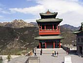 Tourists explore Jiayu Guan pass (fortress) in spring, Great Wall. China