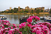 Late afternoon at the harbour of Angers; view at the castle and harbour with ships, La Maine, dept Maine-et-Loire, France, Europe
