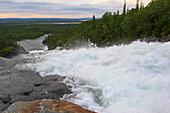 After sunset at the Handoelsfossen waterfall near Handoel, Jaemtland, northern Sweden