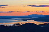 View from the Galtispuoda near Arjeplog to the landscape with lakes after sunset, Lapland, northern Sweden