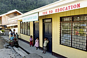 School. Described as the eighth wonder of the world, carved out of the hillside by Ifugao tribes people 2000 to 3000 years ago, they were declared a UNESCO World Heritage Site in 1995. Cambulo village. Banaue rice terraces. Philippines.