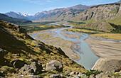 Las Vueltas river near El Chalten. Los Andes mountain range. Los Glaciares National Park. Santa Cruz province. Patagonia. Argentina.