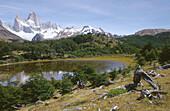 Laguna de los Patos. Fitz Roy peak (3440 m) at the rear. Los Andes mountain range. Los Glaciares National Park. Santa Cruz province. Patagonia. Argentina.