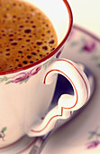 Beverage, Beverages, Close up, Close-up, Closeup, Coffee, Color, Colour, Concept, Concepts, Cup, Cups, Detail, Details, Drink, Drinks, Elegance, Elegant, Handle, Handles, Indoor, Indoors, Inside, Interior, Old fashioned, Old-fashioned, Saucer, Saucers, S