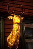 Golden stag, hanseatic wharf, Bryggen, Bergen, Norway.
