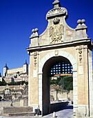 Alcantara gate & alcazar, old city, toledo, Spain.