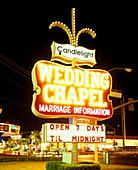 Neon sign, Wedding chapel, the strip, Las vegas, Nevada, USA.