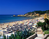 Praia santa eulalai beach, Albufeira, Algarve coastline, Portugal.