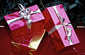 Celebrate, Celebrating, Celebration, Celebrations, Christmas, Close up, Close-up, Color, Colour, Concept, Concepts, Fuchsia, Gift, Gifts, Holiday, Holidays, Horizontal, Indoor, Indoors, Inside, Interior, Object, Objects, Package, Packages, Parcel, Parcel