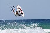 Kiteboarding. Playa del Balneario, Tarifa, Cadiz province, Andalusia, Spain